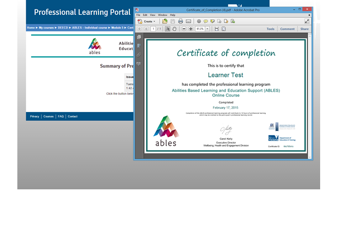 Professional Learning Portal - Certificate