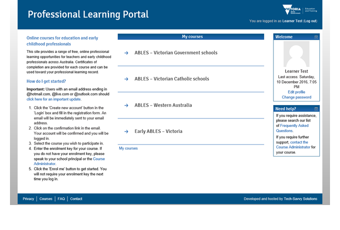 Professional Learning Portal - Course list