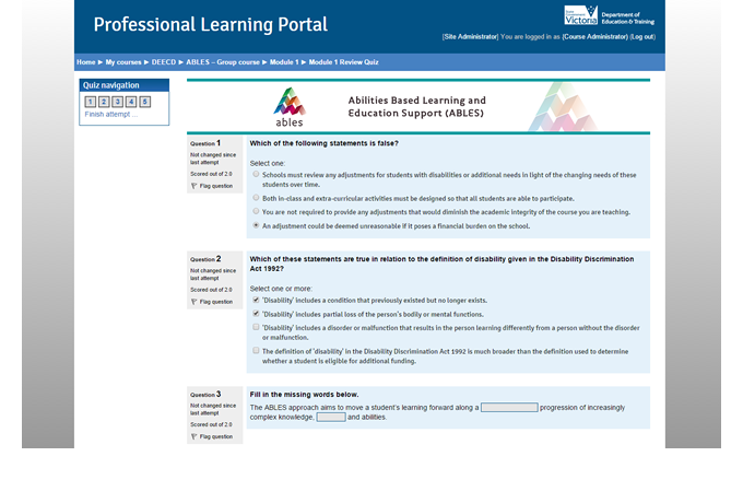 Professional Learning Portal - Quiz