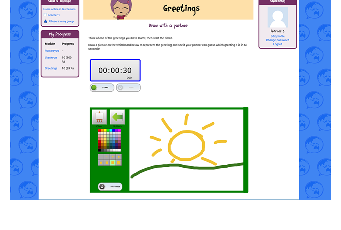 GlobyTown Language Learning Portal - Moodle LMS - Whiteboard activity