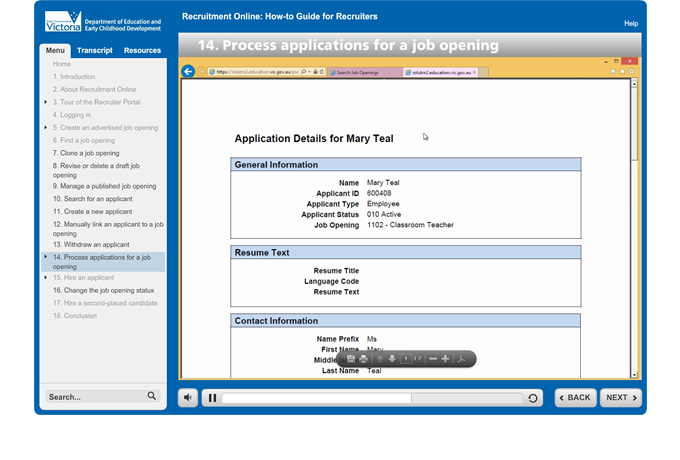 Recruitment Online - Print application