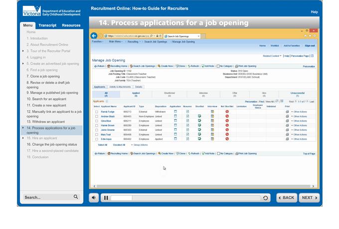 Recruitment Online - Screen capture video