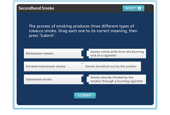 Drug Education eBookbox - Secondhand Smoke - Matching quiz