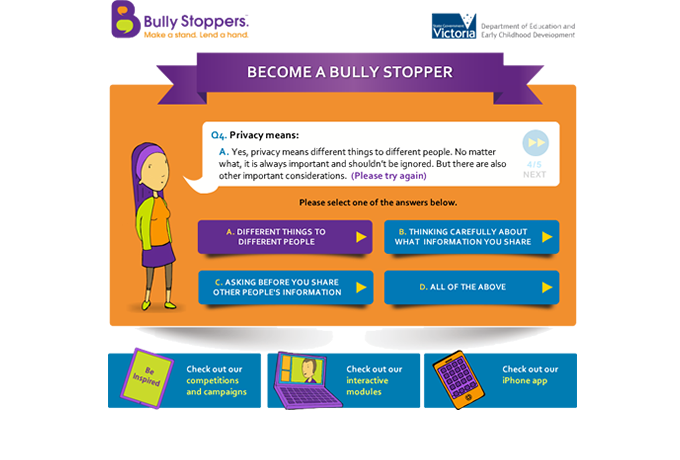 Become a Bully Stopper quiz - Multiple choice