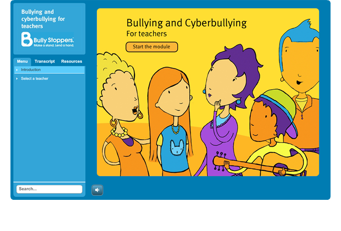Bulying and cyberbullying for teachers - Home screen