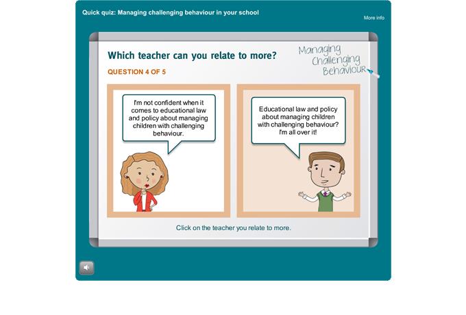 Managing Challenging Behaviour quiz - Quiz question