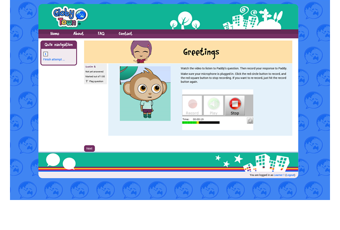 GlobyTown Language Learning Portal - Moodle LMS - Audio Quiz activity